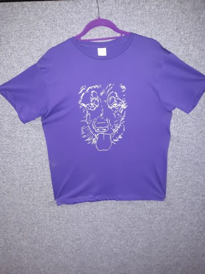 Tshirt featuring printed sketched image of Karma's face.