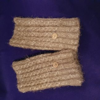 brown mohair fingerless ribbed gloves - large