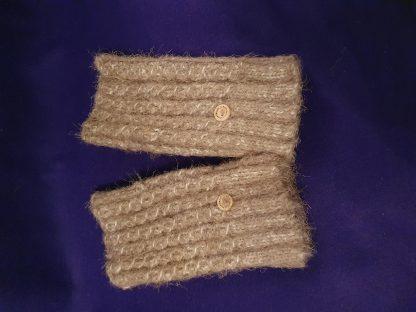 brown mohair fingerless ribbed gloves - large