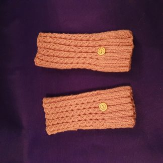 dusky pink ribbed fingerless gloves
