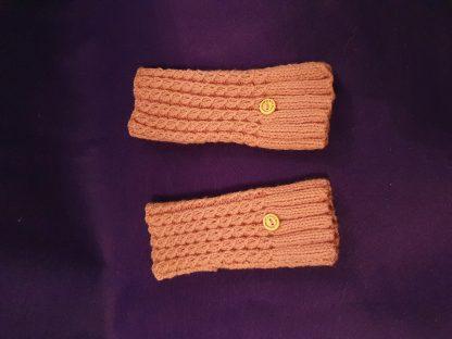 dusky pink ribbed fingerless gloves