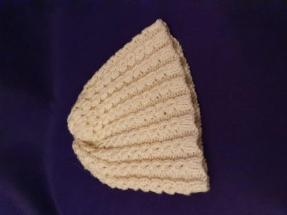 hand knitted cream hat