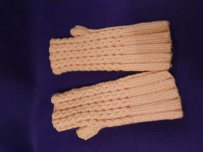 peach ribbed thumbed fingerless gloves