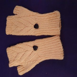 peach thumbed fingerless gloves - cable knit