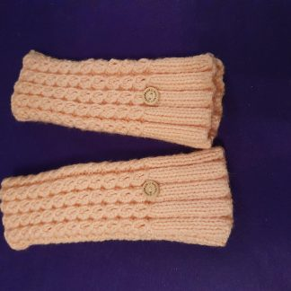 peached ribbed fingerless gloves