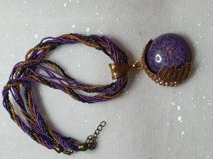 Beaded choker necklace in purple and gold