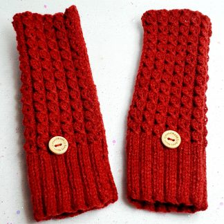 Deep red ribbed gloves