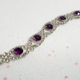 Diamante and purple stone bracelet