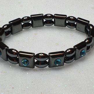 Hematite and blue stone bracelet