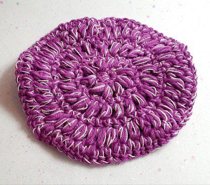 Purple shower scrubbies