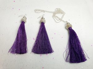 Purple tassle earring & necklace set