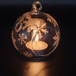 Christmas Glass Hanging tealight holder