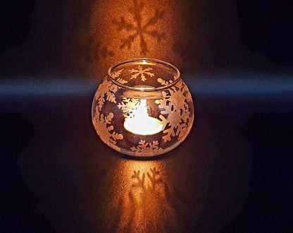 Christmas glass fish bowl tea light holder